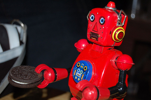 Red Robot; looking for the Milk